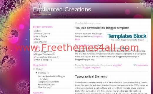 Free Blogger Enchanted Creations Pink Template