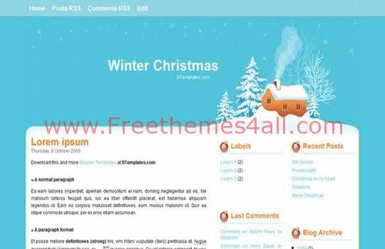 Free Blogger Winter Christmas Blue Template