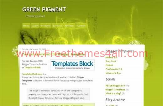 Free Blogger Green Pigment Web2.0 Template