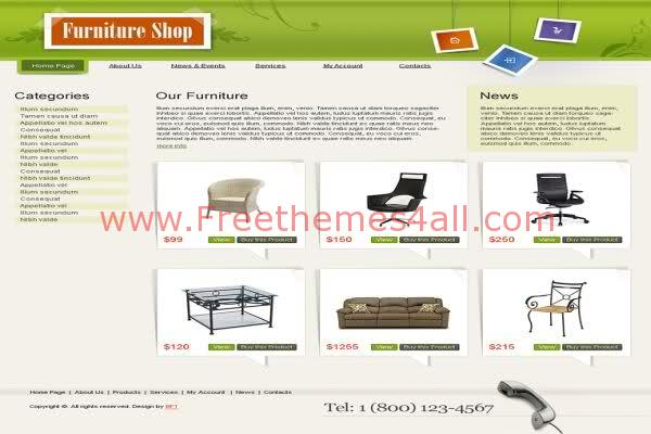 Free HTML Furniture Shop Templates Web2.0 Template
