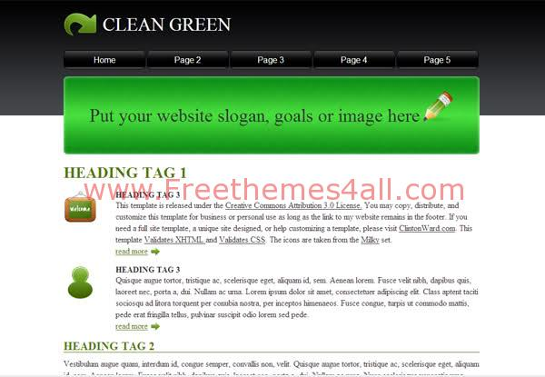Free CSS Black Clean Green Web2.0 Template