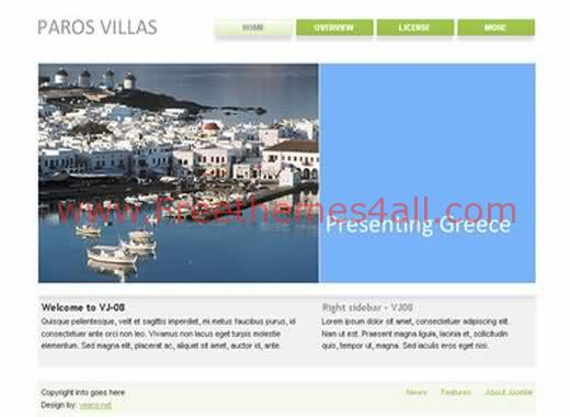 Free Joomla Greece Sea Travel Web2.0 Theme Template