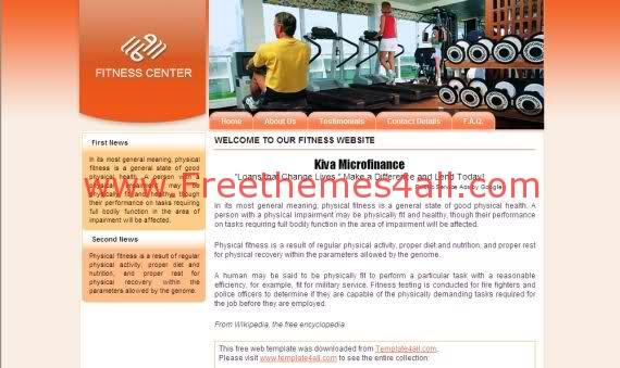 Free Web Business Fitness Club Web2.0 Template