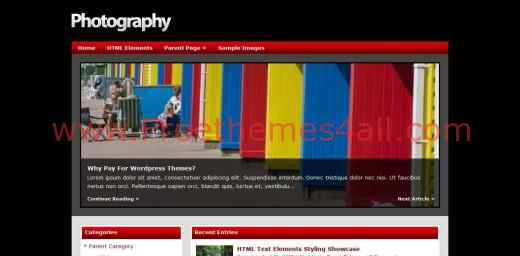 Free WordPress Photography Blog Theme Template
