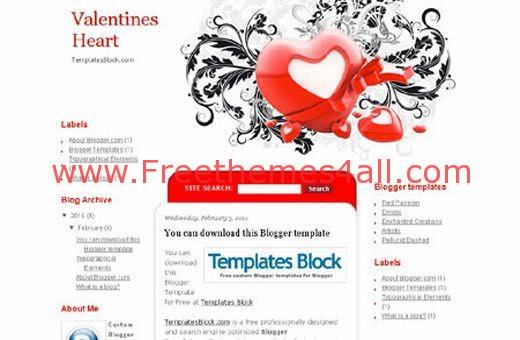 Free Blogger Valentines Heart Template