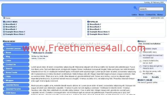Free Joomla Simple Blue Portal Template
