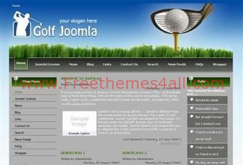 Free Joomla Golf Club Web2.0 Theme Template