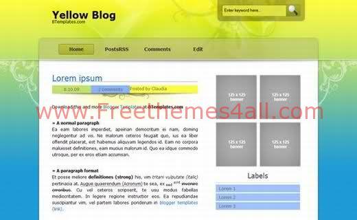 Free Blogger Yellow Blog ArtsWork Web2.0 Template
