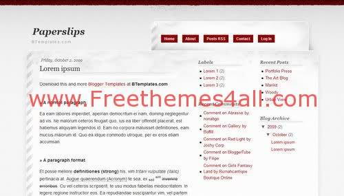 Free Blogger Paper Gray Blog Web2.0 Template