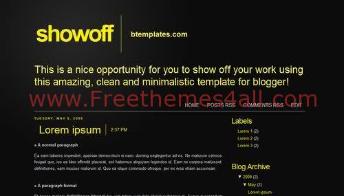Free Blogger Black Yellow Neutral Web2.0 Template