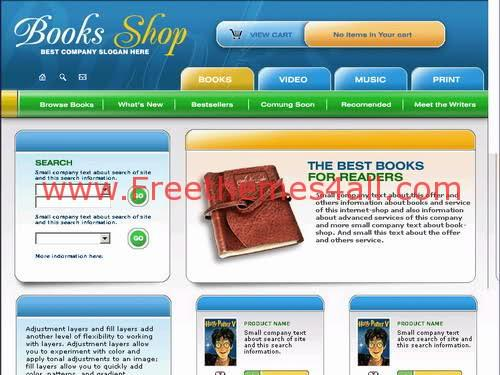 Free Flash Books Shop Store Web2.0 Template