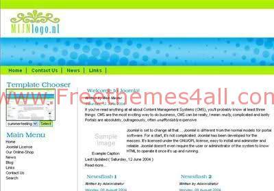 Free Joomla Summer Green Time Web2.0 Template
