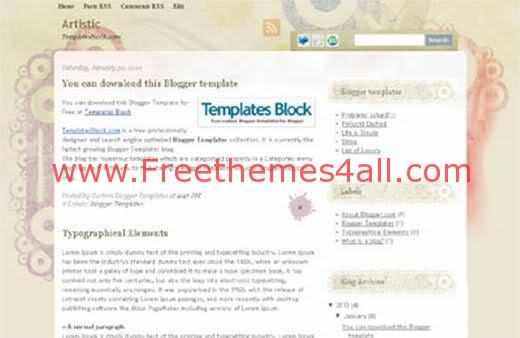 Free Blogger Artistic Colors Web2.0 Template