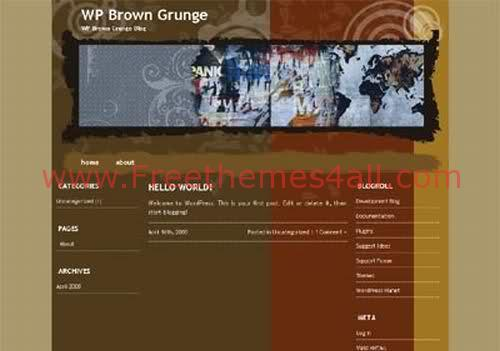 Free WordPress Art Brown Grunge Theme Template