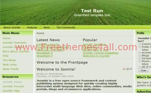 Free Joomla Field Nature Green Web2.0 Theme Template