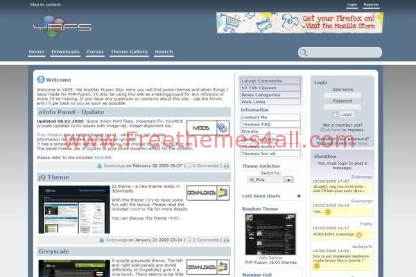 Free php-fusion Bleu Gray Blog Web2.0 Theme Template
