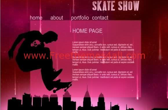 Free Flash Skate Show Web2.0 Template