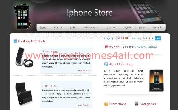 Free CSS Black Iphone Store Web2.0 Template