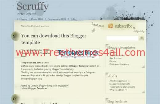 Free Blogger Scruffy Blue Yellow Template