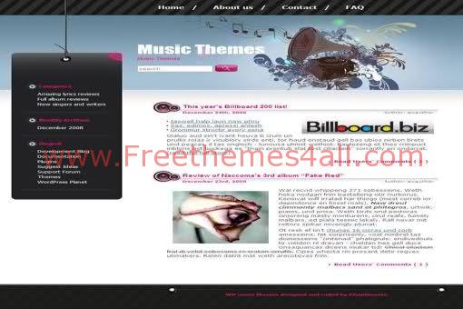 Free WordPress Pink Music Blog Web2.0 Theme Template