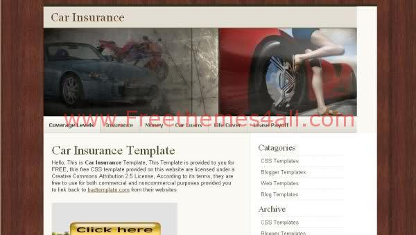 Free CSS Sexy Cars Insurrance Web2.0 Template