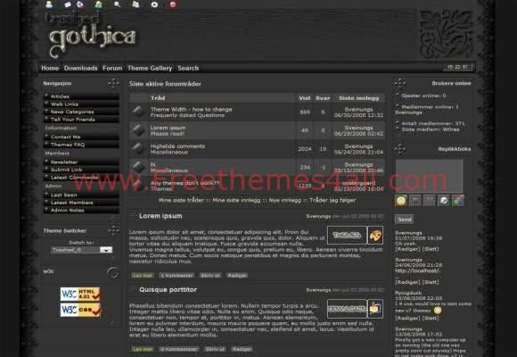 Free php-fusion Gothica Black Web2.0 Theme Template