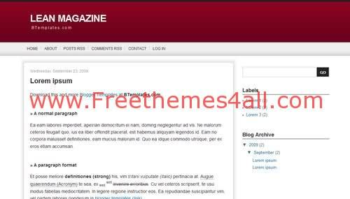 Free Blogger Red Magazine Web2.0 Template