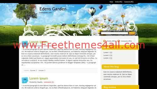 Free Blogger Flowers Garden Vector Web2.0 Template