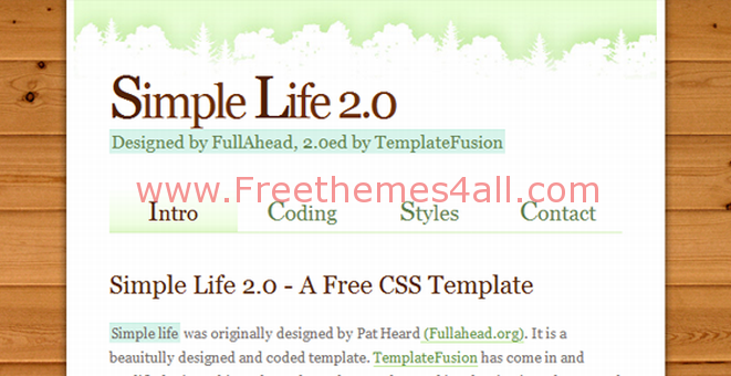 Free CSS Green Wood Background Web2.0 Template