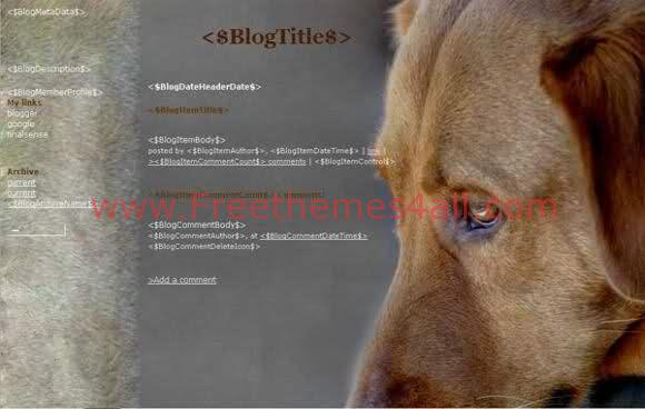 Free Blogger Dogs Pets animals Web2.0 Template