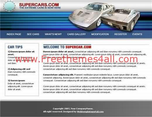 Free Web Template Super Cars Company Website
