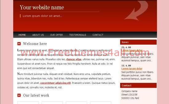 Free CSS Red Pink Business Web2.0 Template