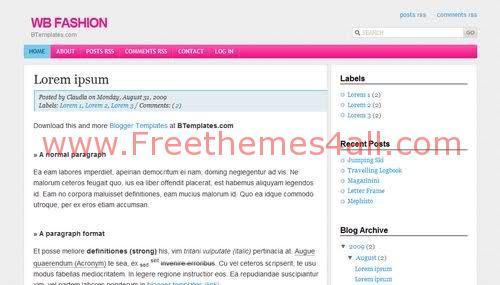 Free Blogger Pink Fashion Girls Web2.0 Template