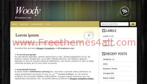 Free Blogger Wood Yellow Web2.0 Template