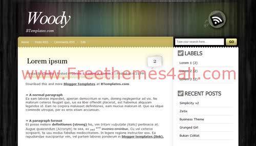 Free Blogger Wood Yellow Web2.0 Template