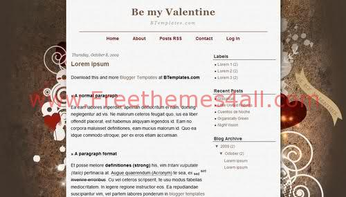 Free Blogger Love Valentine Web2.0 Template