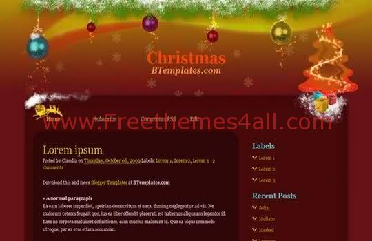 Free Blogger Christmas Events Blog Template