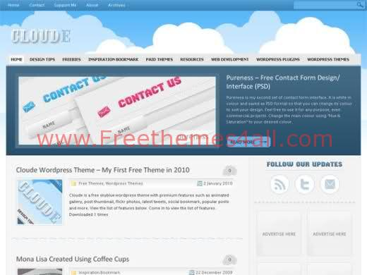 Free Cloude WordPress Blue Theme Template