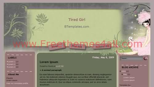 Free Blogger Kid Girl Garden Web2.0 Template