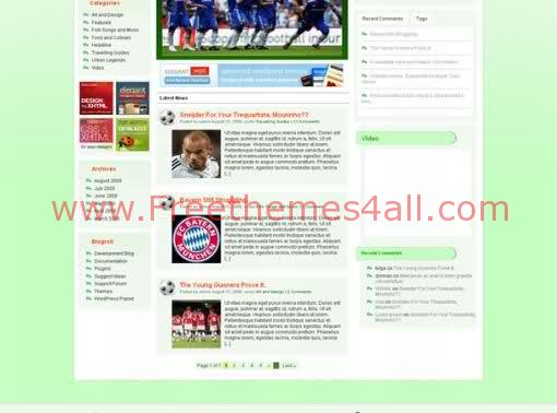 Free WordPress Theme - Football News Blog Web2.0 Template