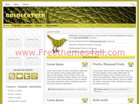 Free WordPress Gold Leather Theme