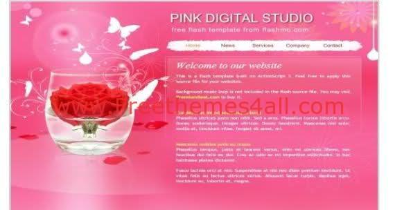 Free Flash Pink Studio Flower Web2.0 Template