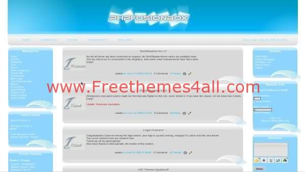 Free php-fusion Light Bleu Relax Web2.0 Theme Template