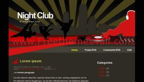 Free Blogger Black Red Nightclub Web2.0 Template