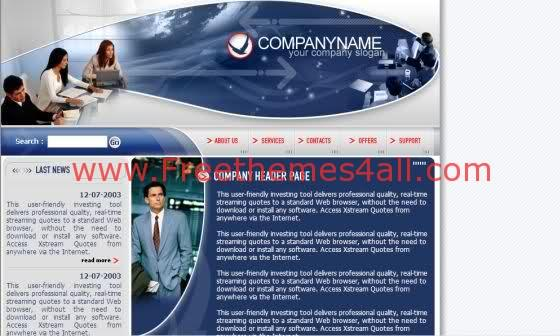 Free Web Business Blue Company Template