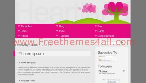 Free Blogger Pink Heart Garden Web2.0 Template