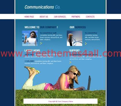 Free Flash Blue Communication Company Template