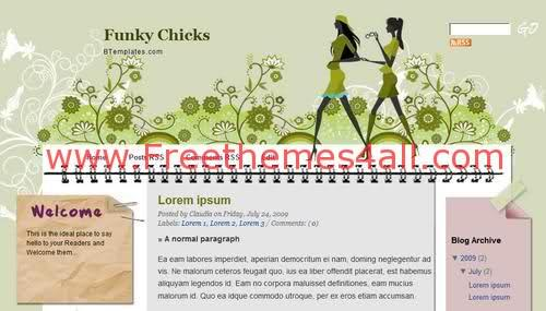 Free Blogger Funky Green Music Web2.0 Template