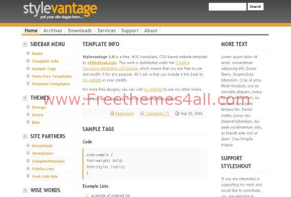 Free CSS Orange Web2.0 Layout Template