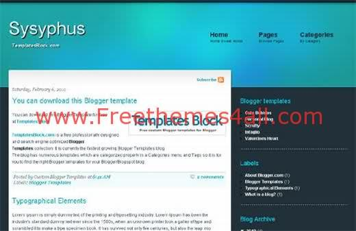 Free Blogger Sysyphus Green Template
